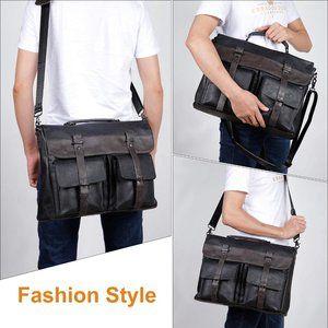 """Messenger Bag 15.6"""" Briefcase Satchel Black"""